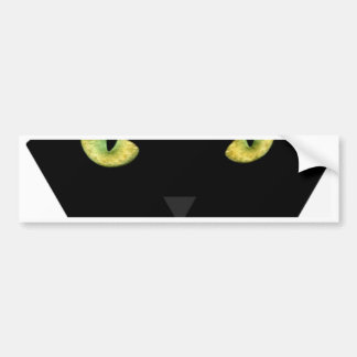 SCARY BLACK CAT FACE WITH GREEN EYES BUMPER STICKER