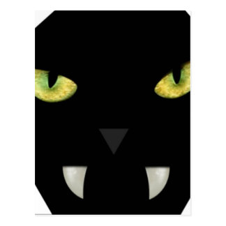 SCARY BLACK CAT FACE WITH GREEN EYES POSTCARD