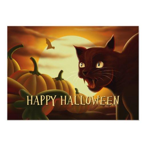 "Scary Black Cat Halloween Invitation 5"" X 7"" Invitation Card"