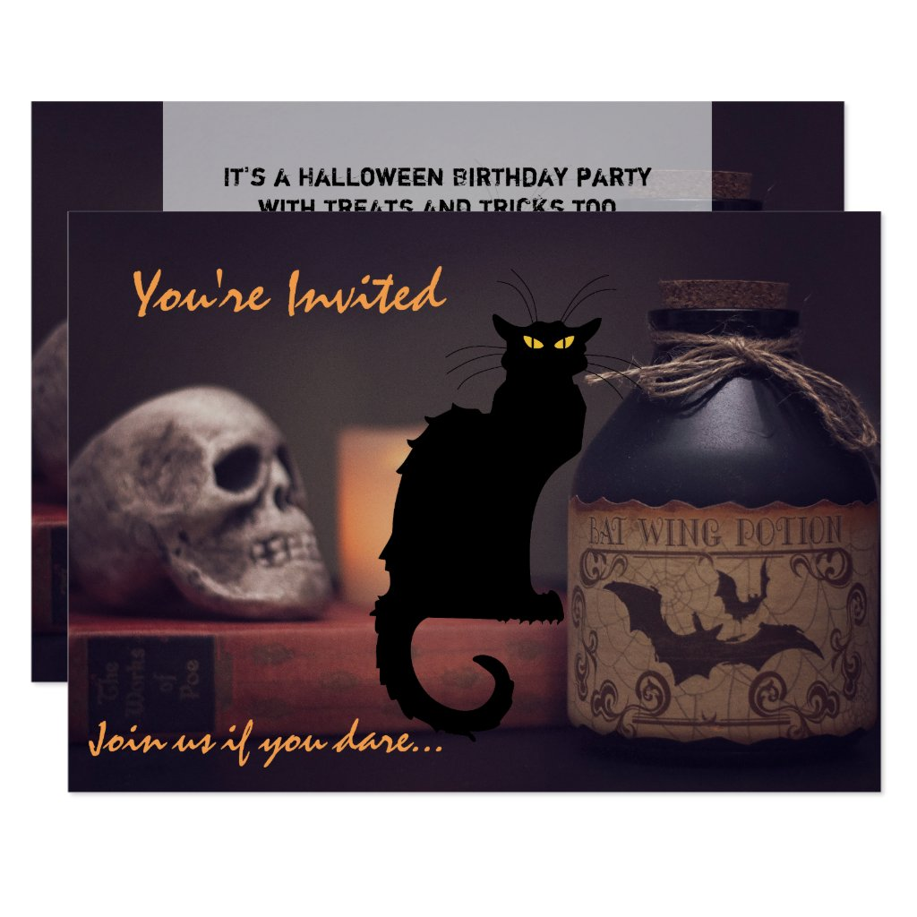 Scary Black Cat n Skull Halloween Birthday Invite