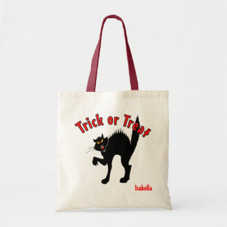 Scary Black Cat Trick or Treat Candy Tote Bag