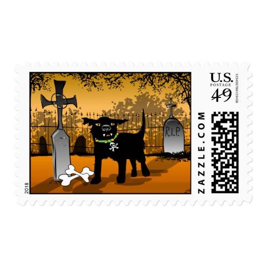 Scary Black Evil Dog Halloween Spooky Postage