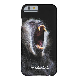 Scary Black Gibbon Monkey Fanged Teeth With Name Barely There iPhone 6 Case