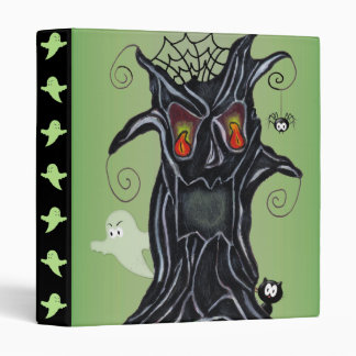 Scary Black Tree Face Ghost Cat Spider Binder