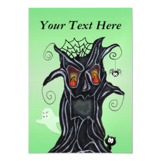 Scary Black Tree Face Ghost Cat Spider Halloween Magnetic Card