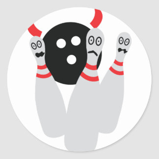 scary bowling ninepine devil classic round sticker