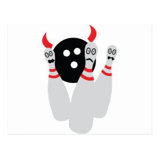scary bowling ninepine devil postcard