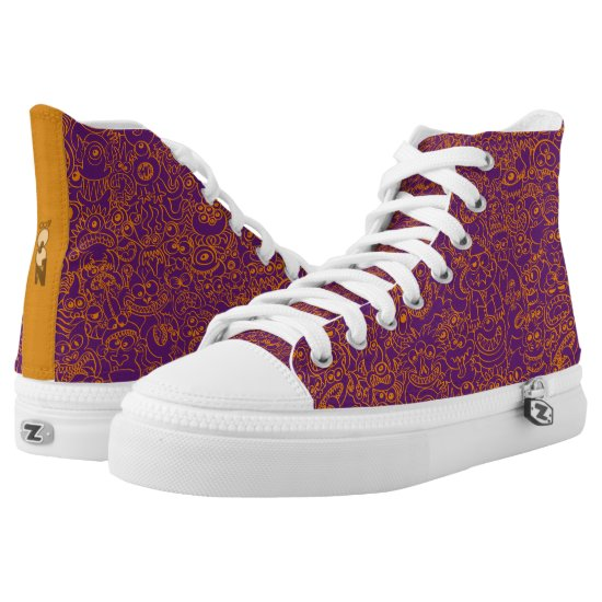 Scary but funny Halloween monsters pattern High-Top Sneakers