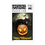 Scary Cat and Pumpkin Halloween Postage Stamps