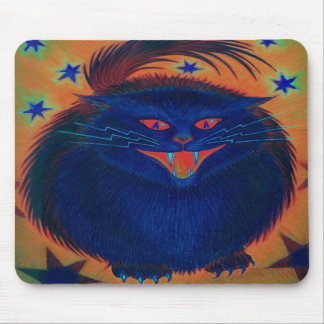 Scary Cat Blue mousepad vertical
