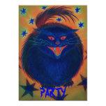 Scary Cat Blue 'Party' invitation