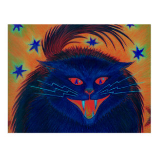 Scary Cat Blue postcard horizontal