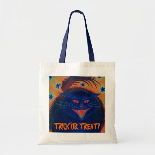 Scary Cat Blue 'Trick or Treat?' bag