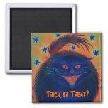 Scary Cat Blue 'Trick or Treat?' fridge magnet Refrigerator Magnet