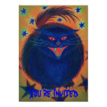 Scary Cat Blue 'You're Invited' invitation