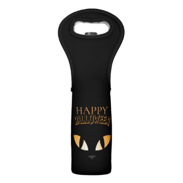 Halloween Themed Scary Cat Eyes- Happy Halloween Wine Bag