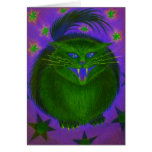 Scary Cat Green greetings card