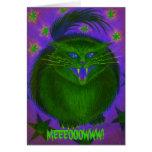 Scary Cat Green 'MEEEOOOWWW!' greetings card