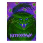 Scary Cat Green 'MEEEOOOWWW!' postcard