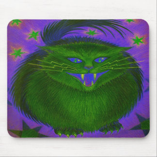 Scary Cat Green mousepad vertical