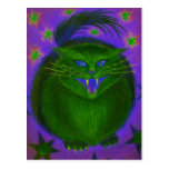 Scary Cat Green postcard