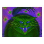 Scary Cat Green postcard horizontal