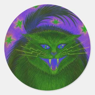 Scary Cat Green round sticker