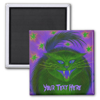 Scary Cat Green 'Your Text' fridge magnet