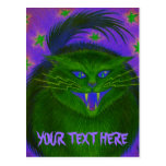 Scary Cat Green 'Your Text' postcard