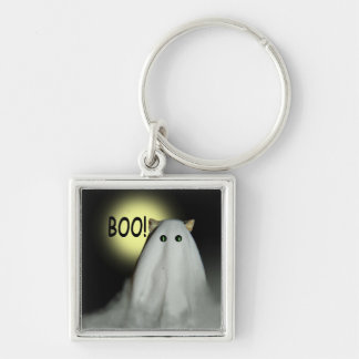 Scary Cat Halloween Square Keychain