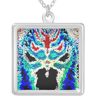 Scary Cat Mask Chinese Square Pendant Necklace
