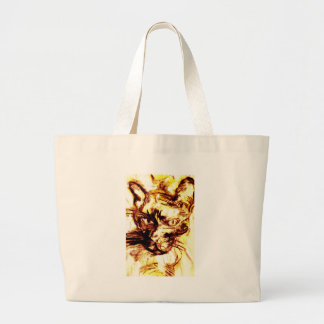 Scary cat of the yellow tone tote bag