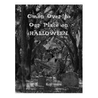 Scary Cemetery Halloween Invitation Postcard