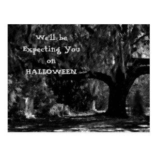 Scary Cemetery Halloween Invitation Postcard 2