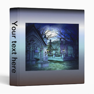 Scary Cemetery with Graveyard and Tombs 3 Ring Binder