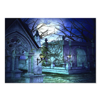 Scary Cemetery with Graveyard and Tombs Card