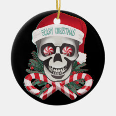 Scary Christmas Funny Skull Ornament at Zazzle