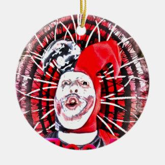 scary clown ceramic ornament