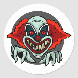 Scary Clown Classic Round Sticker