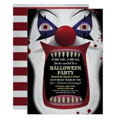 Scary Clown Halloween Party Carnival Circus Horror Invitation