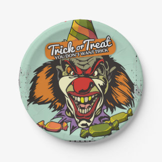 Scary clown Happy Halloween party Paper Plate
