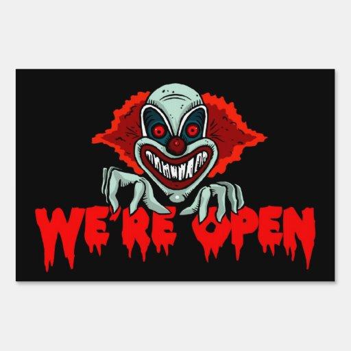 Scary clown we re open halloween yard sign zazzle