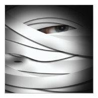 Scary Creepy One Eyed Halloween Mummy 5.25x5.25 Square Paper Invitation Card