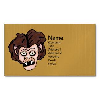 Scary Creepy Werewolf Head Fangs Cartoon Wolf Man Business Card Magnet