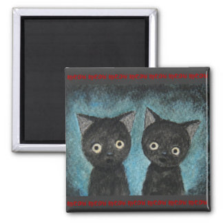Scary Cute Black Cat Kittens Meow Red and Black Magnet