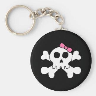 Scary cute Girly skull and cross bones Keychain