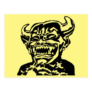 Scary Evil Laughing Devil Face Postcard