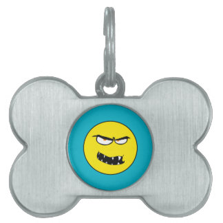 Scary Evil Smiley Face Pet Name Tag