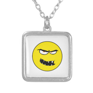 Scary Evil Smiley Face Silver Plated Necklace