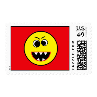 Scary Evil Yellow Smiley Emoticon Stamp